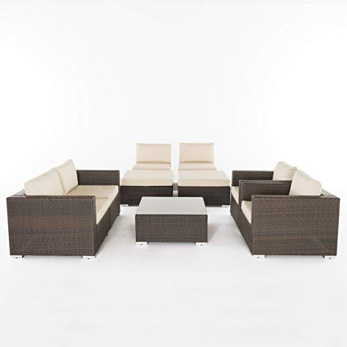 Great Deal Furniture Karl Outdoor 6 Seater Wicker Sectional with Aluminum Frame, Multi Brown and Beige (Furniture Karl's)