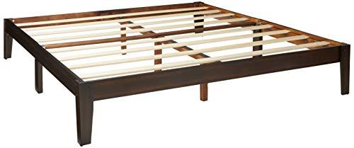 Olee Sleep VC14SF02K Deluxe Wood Platform Bed Frame, King, Dark Brown