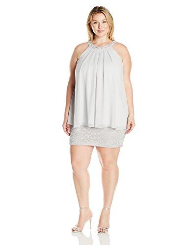 Jessica Howard Women's Plus Size Beaded Neck Popover Dress, Silver, 14W