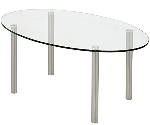 Modern Glass Coffee Table | Stainless Brushed Metal Leg Clear Glass Top Designer Tables Round Legs | Oval Best for Living Room Couch Area Family Room