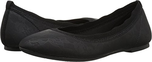 Skechers Women's Cleo Place Lace Printed Stretch Fabric Skimmer Ballet Flat, Black, 6.5 M US - Stretch Ballet Flat