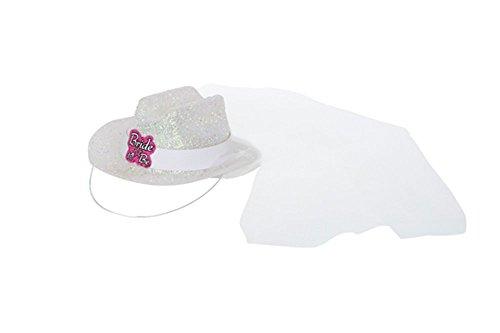 Bachelorette Party 'Bride to Be' Mini White Glitter Cowboy Hat w/ Veil (1ct) (Mini Hat With Veil)