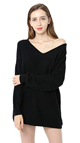 Ailaile Autumn Winter New 100% Cashmere Sweater Women V-Neck Loose Pullover Female Sexy Wool Tops (Medium, Black)
