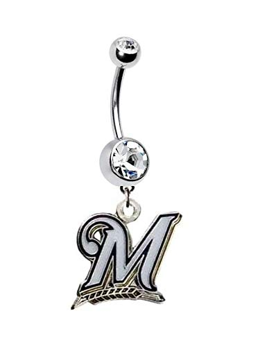 - Milwaukee Brewers Baseball Team Navel Belly Button Ring Body Jewelry Piercing 14 Gauge