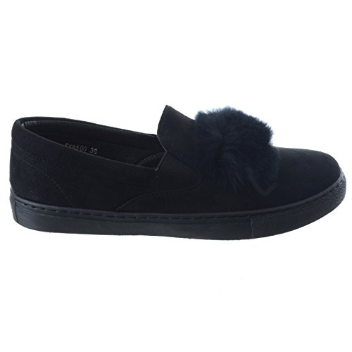 Miss Image UK Womens Ladies Trainers Faux Suede Slip On Flat Fur Casual Sneakers Pumps Shoes Size Black skicqK2