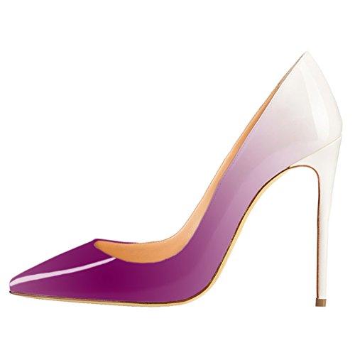 Vocosi Bout Pointu Pompes Pour Les Femmes, Imprimé Animal Gradient De Brevet Talons Hauts Chaussures Habillées Habituelles 10cm * Blanc Violet