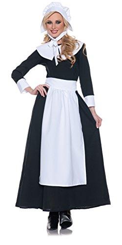 Underwraps Woman's Pilgrim Costume, Black/White, Medium