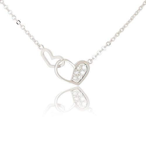 (My Very Best Knot of Friendship Double Heart Necklace (Silver Plated Brass))