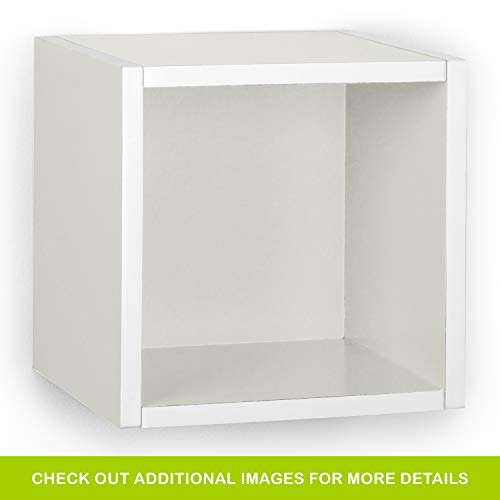 Way Basics Eco Wall Cube and Decorative Shelf, White (made from sustainable non-toxic zBoard paperboard)