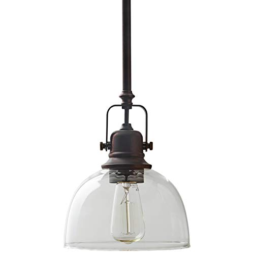 Stone & Beam Vintage Ceiling Pendant Lighting Fixture With Light Bulb And Clear Glass Shade - 7 x 7 x 17.25 Inches, 11.75 - 59.25 Inch Cord, Oil Rubbed Bronze