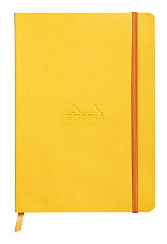 Rhodiarama Rodia Leather Softcover A5 Yellow Notebook - Dotted Pages - 5.8 x 8.3 in