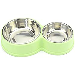 PEHTEN Double Dog Bowl Stainless Steel Pet Feeding Dog Food Bowl Drinking Water Fountain Puppy Feeder Cat Bowl Green Steel Bowl 28x17x5cm