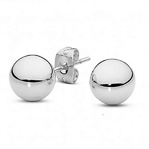 Tisoro Sterling Silver Round Ball Stud Earrings in 6mm, 8mm, 10mm, 12mm and 14mm - 100% Hypoallergenic Jewelry (6.00)