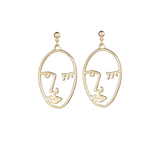 Picasso Earrings (Cleacloud Human Face Dangle Earrings Drop Hoops Studs Cuffs Ear Wrap Pin Vine Pierced Dangling Hollow Out Charms Jewelry Golden Plated Style 1)