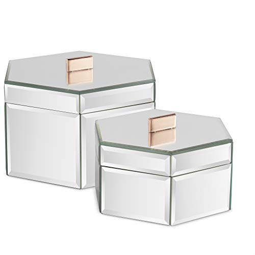(Beautify Large Octagon Mirrored Glass Jewelry Box Trinket Boxes Desk Organizers for Jewelry and Accessories Silver Set of 2)