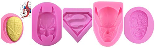 Set of five (5) 3D Silicone Mold Hulk Face Superman Logo Wolverine Spiderman Face and Batman Face For Sugarcraft, Fondant, Chocolate, Gum Paste, Marzipan or Craft Clays For Cake or Cupcake Decorating