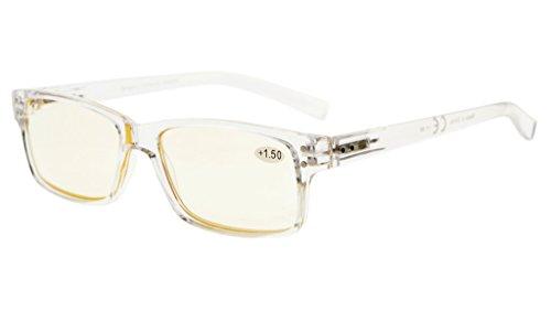Uv Resistant Glass - Eyekepper Anti Glare/Blue Rays UV Protection Readers, Scratch Resistant Lens Computer Reading Glasses Men(Transparent Frame/Yellow Lenses, 1.25)