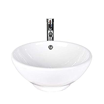 ceb6dfee322 16 Inch White Porcelain Ceramic Countertop Bowl Lavatory Round Above ...