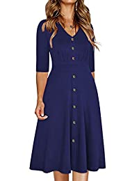 Ranphee Womens Ruffle-Frame Sleeveless V-Neck Flattering A Line Button Down Dresses