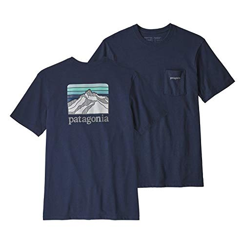 Patagonia Men's Line Logo Ridge Pocket ResponsibiliTee Classic Navy Large