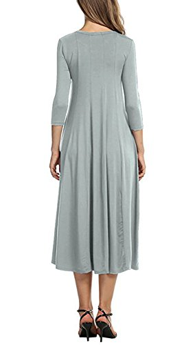Doramode Stylish Womens 3 4 Sleeve Midi Crew Collar Swing Loose Casual Clearance Stretch Old Dress Grey Size 18