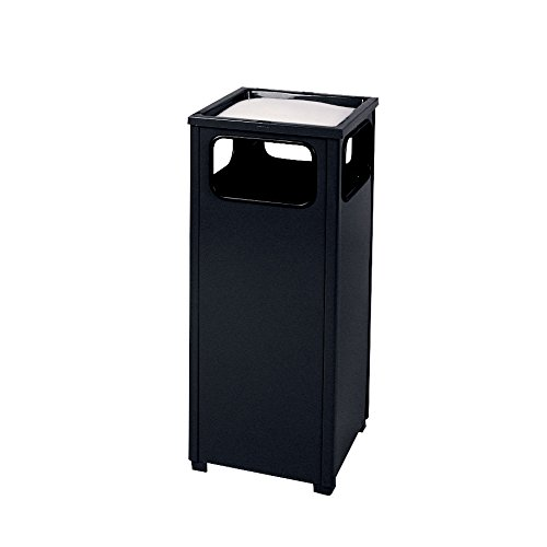 - Rubbermaid Commercial Products FGR12SUSBKPL Dimension Standard Series Ash/Trash Refuse Container with Weather Urn (12-Gallon, Black)