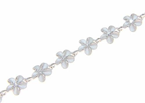 925 sterling silver Hawaiian cz plumeria flower anklet cz 6mm 9