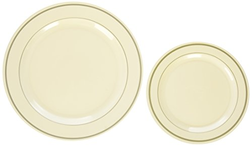 Blue Sky Premium Quality Heavyweight Plates, Ivory with Gold Border by Blue Sky