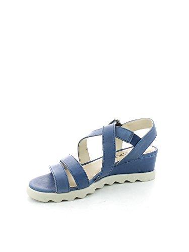 Sandalo con listini incrociati in pelle Denim N. 38
