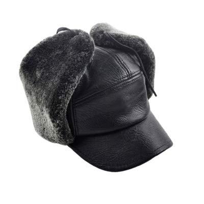 (Culturemart Men Winter Warm Leather Bomber Hats Russian Cap Trapper Caps Aviator Trooper Earflap Hats Faux Fur Dad Hats Baseball Caps)
