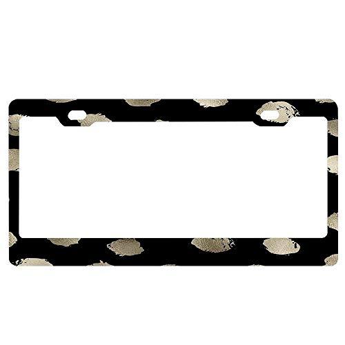 (ASLGlicenseplateframeFG Black Onyx - Golden Dots Custom Metal License Plate Frame Tag Holder Aluminum Funny Stylish)