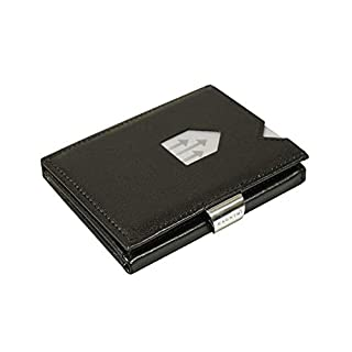 EXENTRI Leather Trifold Wallet - RFID Blocking w/Stainless Steel Locking Clip (Black)