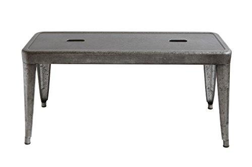 Creative Co-op DA7817 Grey & Brown Galvanized Metal Bench, Grey by Creative Co-op (Image #1)
