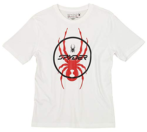 (Spyder Youth Boys Athletic Short Sleeve Graphic Cotton Tee, White/Spyder Circle, X-Large 18-20)