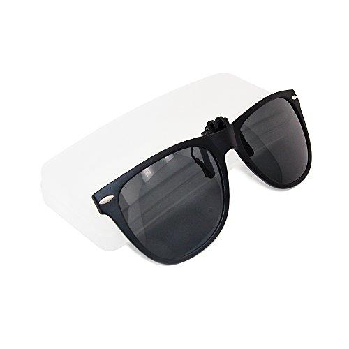 d926b06aff Mirror Polarized Clip-on Flip up Plastic Sunglasses Lenses Cool Black Clip  on Sunglasses Clips for Eyeglasses Men and Women Use  Amazon.co.uk  Sports    ...