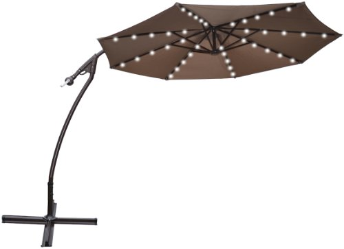 STRONG CAMEL 9' CANTILEVER SOLAR 40 LED LIGHT PATIO UMBRELLA OUTDOOR GARDEN ALUMINIUM MARKET-TAUPE by Strong Camel