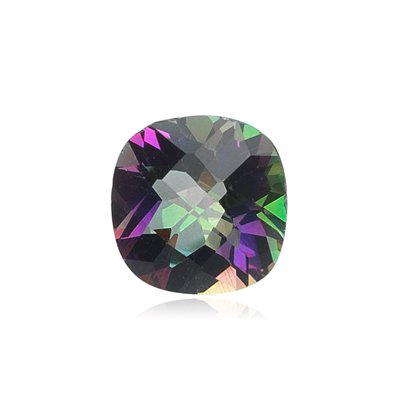4.50-6.00 Cts of 10 mm AAA Cushion Checkered Mystic Green Topaz (1 pc) Loose Gemstone by Mysticdrop