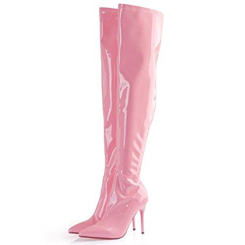 Cuir Hauts Pointu Talons Très en Laiton avec Femmes Dames Genou Bottes Bottes Bottes aux Élasticité Bottes Bien Hautes Verni au Pink à zwIxvcBp