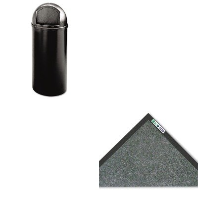 KITCWNET0035CHRCP816088BK - Value Kit - Crown Mats ET36CHA ECO-STEP Floor Mat, 36 x 60, Charcoal (CWNET0035CH) and Rubbermaid-Black Marshal Fire Resistant Plastic Containers 15 Gallon (RCP816088BK)