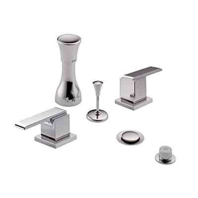 Delta Delta KBDAR-D-44-H267-CH Classic Bidet Fitting Kit Deck-Mounted Vertical Spray with Addison Metal Lever Handles, Chrome Chrome