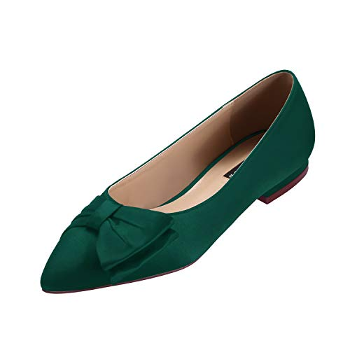 ERIJUNOR E0045 Wedding Flats Comfortable Flat Shoes for Women Closed Toe Wide Width Evening Party Dress Shoes Green Size 6 -