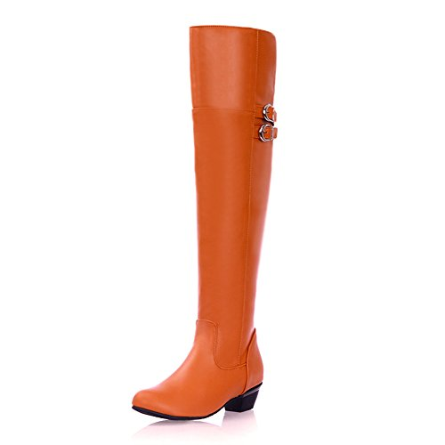 Bout Pointu Femme Talon Bas Bout Rond Sur Le Genou Botte Avec Boucle Orange