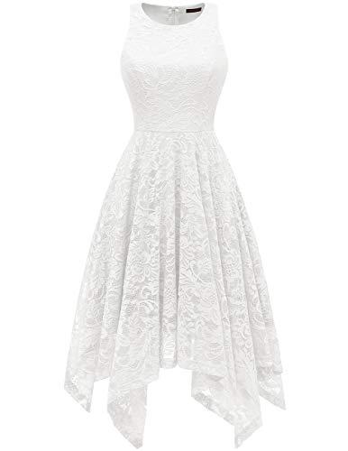 Bridesmay Women's Boatneck Sleeveless Elegant Floral Lace Asymmetrical Hanky Hem Cocktail Party Midi Dress White 2XL