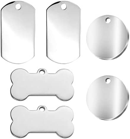 6PCS Dog Tags Pet ID Tags Stainless Steel Blank No Lettering Tag for Stainless Steel Personalised Pet Identity Name Tags, Laser Engraving, 3 Specification