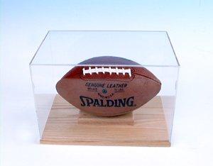 Football Display case Solid Oak Base (Oak Base Football Display Case)