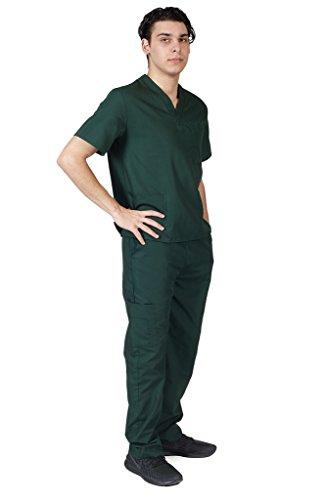 M&M SCRUBS Men Scrub Set Medical Scrub Top and Pants L Hunter Green