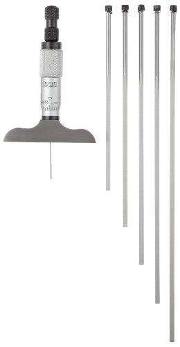 "Starrett 449AZ-6R Vernier Depth Gauge, Micrometer Type, 0-6"" Range, 0.001"" Graduation, 2.5"" Base, 6 Rods, +/-0.0001"" Accuracy"