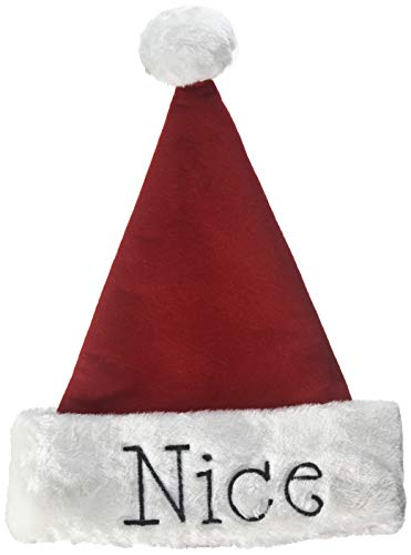 (Santa Christmas Hat with Hand Stitched Naughty Or Nice Festive Holiday Hat)