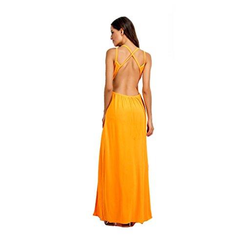 WANG Vestidos de Las Mujeres Sexy Espalda Abierta Verano Vestido de Fiesta Vestido de Noche (Color : Amarillo, Tamaño : Metro): Amazon.es: Hogar