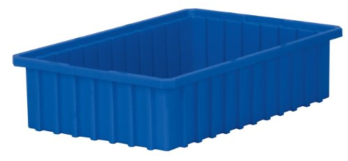 Akro-Mils 33164 Akro-Grid Slotted Divider Plastic Tote Box, 16-1/2 -Inch Length by 10-7/8-Inch Width by 4-Inch Height, Case of 12, Blue, -